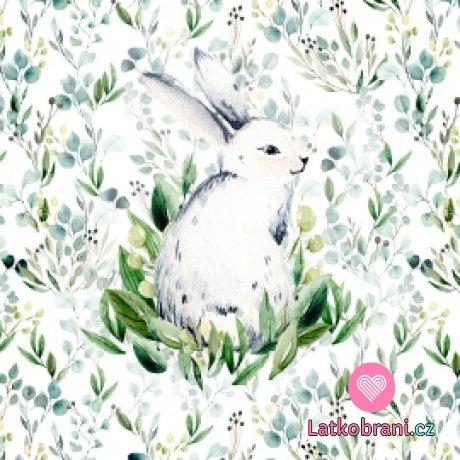 Bavlněný panel sedící králík v eukalyptových listech 40x40 cm