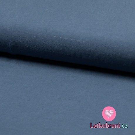 Viskóza s příměsí lnu (šatovka) jednobarevná jeansově modrá