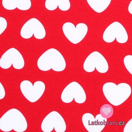 Bavlněný úplet potisk bílá srdíčka na červené