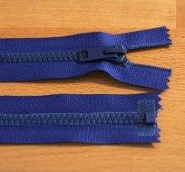 Zip kostěný dělitelný 40cm královsky modrá