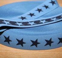 Pruženka ozdobná hvězdy navy na jeansové šíře 40mm