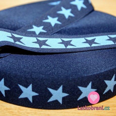 Pruženka ozdobná hvězdy jeans šedé na navy šíře 40mm