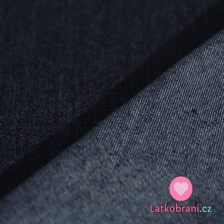 Denim stretch jeansovina modrá tmavá -ZBYTEK