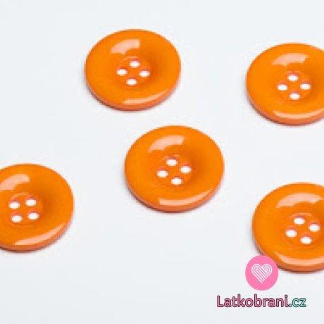 Knoflík hladký, lesklý, oranžový 30mm
