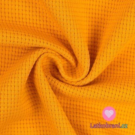 Bavlněná vaflovina jednobarevná hořčicová
