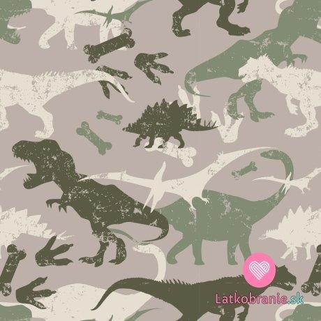 Teplákovina počesaná potisk dinosauři na hnědé taupe