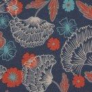 Viskóza potisk barevné květy na antracitové