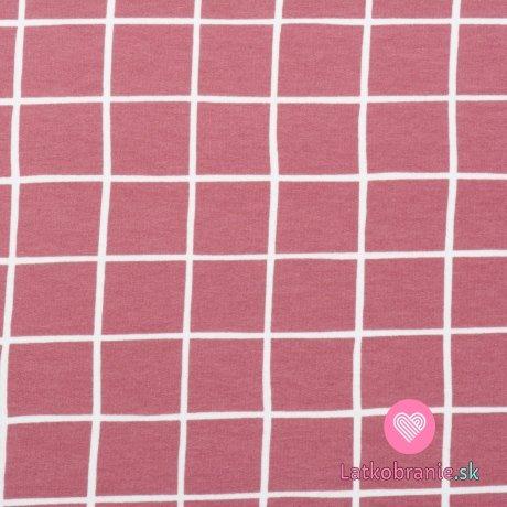 Teplákovina počesaná potisk růžová mřížka, BIO