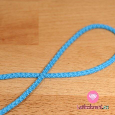 Šňůra kulatá oděvní PES 4 mm modrá do tyrkysové