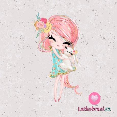 Panel holčička růžovláska s králíčkem na šedé