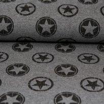 Teplákovina patinované hvězdy v kruhu na šedé
