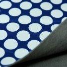 Softshell puntíky bílé na tmavě modré 2,2cm s fleecem