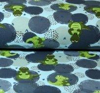 Teplákovina zelený krokodýl na modré