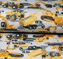 Úplet nákladní stroje bagr žlutý na šedé