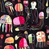 Softshell zimní zářivé neonkové medůzky na černé