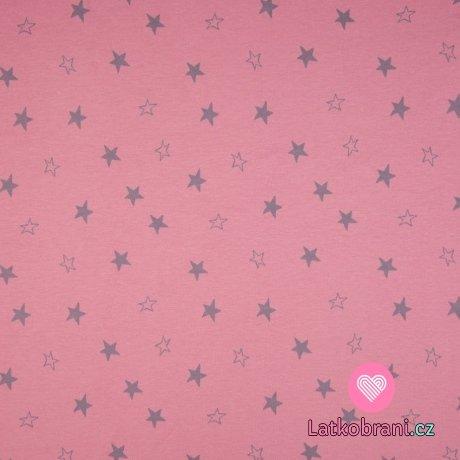 Úplet potisk stříbrné hvězdy na zaprášené růžové