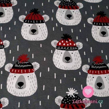 Bavlněný úplet medvídek s čapkou na šedé