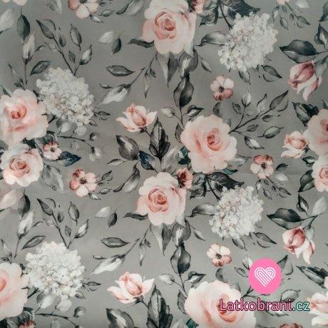 Softshell letní potisk růže a hortenzie na šedé