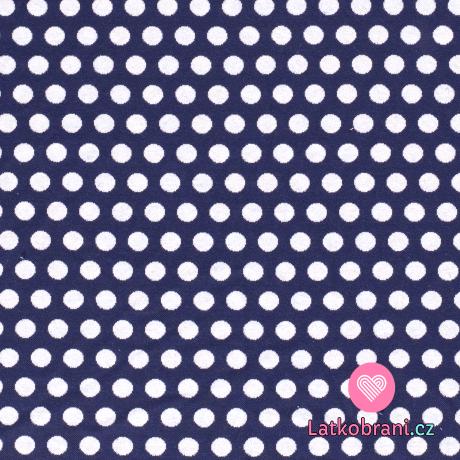 Pletený žakár bílé puntíky na námořnické modré