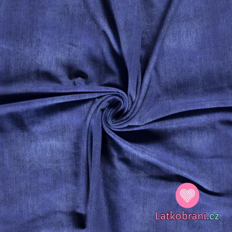 Teplákovina potisk džínový efekt námořnicky modrá