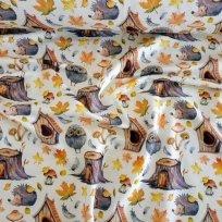 Teplákovina  potisk sovička, ježeček mezi pařezy a podzimní listí