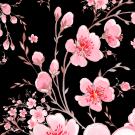 Teplákovina potisk rozkvetlá jabloň na černé