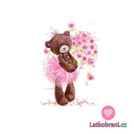 Panel medvídě baletka s kyticí růží
