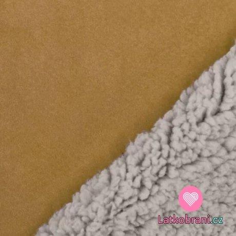 Umělá kožešina / imitace ovčího rouna (sherpa) hořčicová