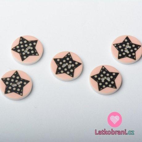 Knoflík kulatý, dětský, růžový s puntíkatou hvězdičkou