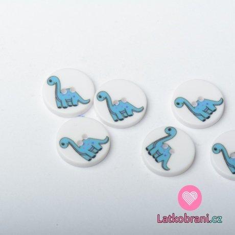 Knoflík kulatý, dětský s modrým dinosaurem