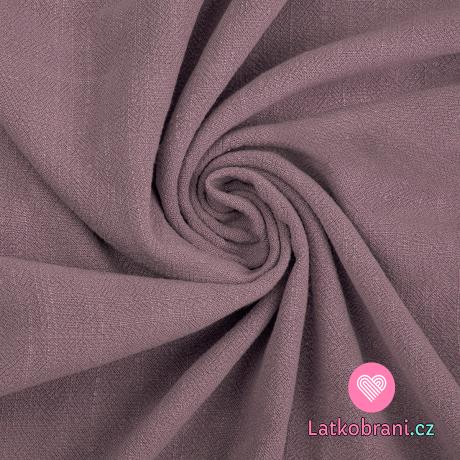 Viskóza s příměsí lnu jednobarevná zaprášená růžová