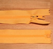 Zip kostěný dělitelný 40cm žlutá sytá