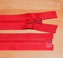 Zip kostěný dělitelný 40cm červená