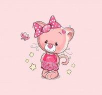 Panel taplákovina kočička v šatičkách na růžové
