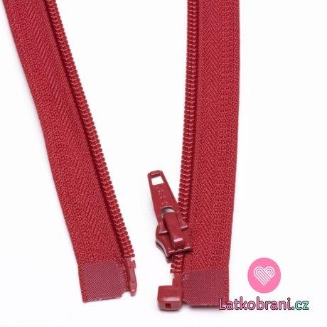 Zip spirálový dělitelný tmavě červený 40cm