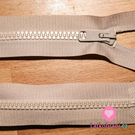Zip kostěný dělitelný 50cm béžová