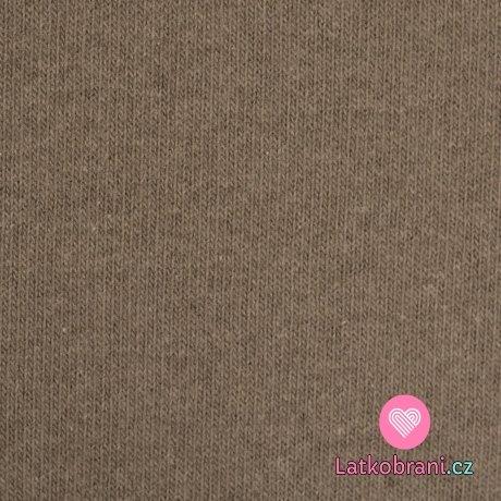 Italská pletenina, počesaná hnědá taupová
