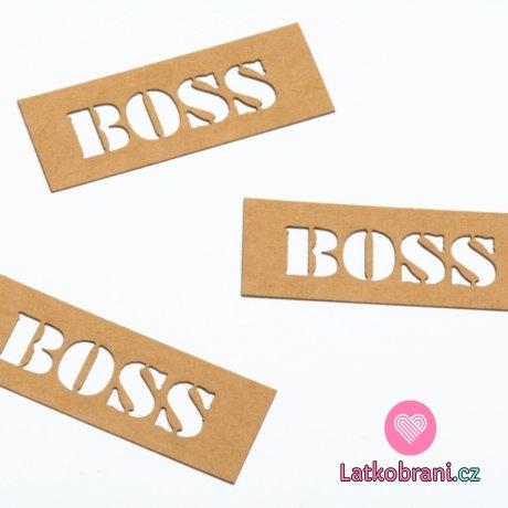 """Štítek na oblečení """"BOSS"""" nápis 20x55 mm"""
