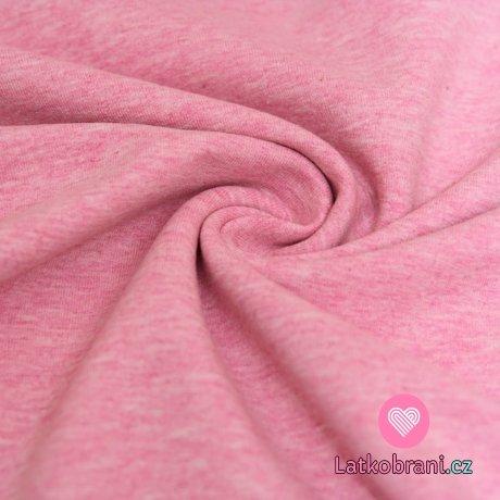 Teplákovina barevná příze růžová melé 2. JAKOST- ZBYTEK