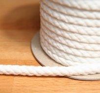 Šňůra kulatá oděvní BAVLNA 9 mm bílá