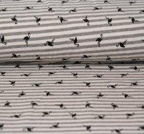 Úplet proužky patinované na šedo-béžové s černými plameňáky