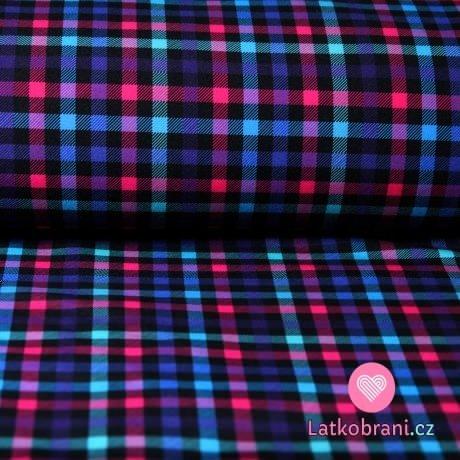 Softshell kostičkovaný modrý, pink