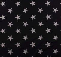 teplákovina potisk seprané bílé hvězdy na černé