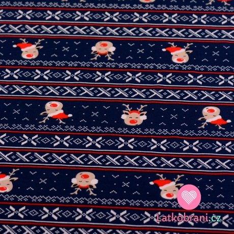 Bavlněný úplet  sobíci ve vánoční čepici na tmavě modré