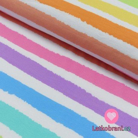 Úplet potisk tahy štětcem barevné pruhy s bílou