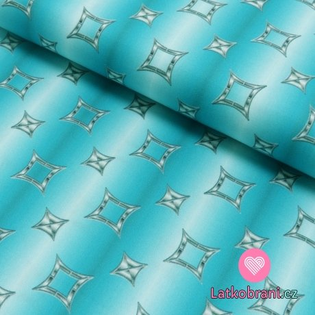 Bavlněný satén čtyřcípé hvězdy na modro - bílých proužcích