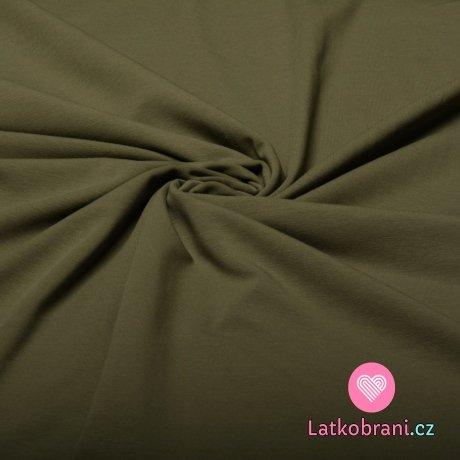 Jednobarevný úplet světle zelená khaki 220 g, šíře 180 cm