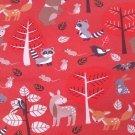 Úplet potisk lesní zvířátka na jemňoučkém červeném melíru