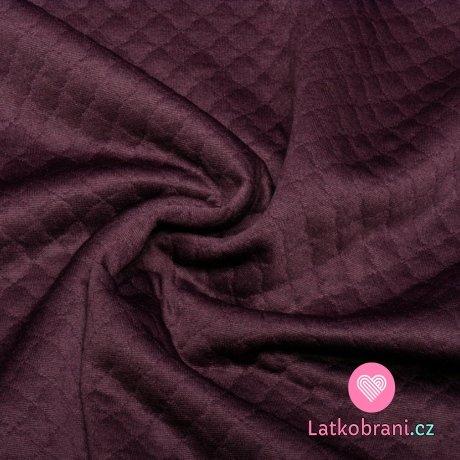 Prošívaná teplákovina, s diamantovým leskem temně fialová