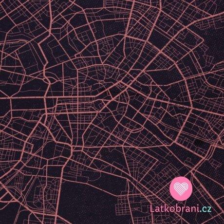 Panel teplákovina potisk abstraktní mapa města v v lososovo - modré